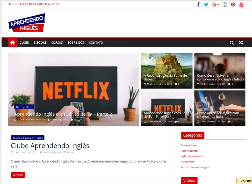 Novo site Aprendendo Inglês